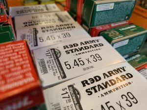 Russian-made ammunition sits on the shelf in a gun store
